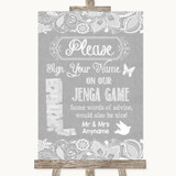 Grey Burlap & Lace Jenga Guest Book Customised Wedding Sign
