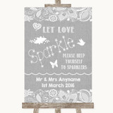 Grey Burlap & Lace Let Love Sparkle Sparkler Send Off Customised Wedding Sign