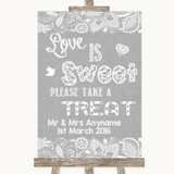 Grey Burlap & Lace Love Is Sweet Take A Treat Candy Buffet Wedding Sign