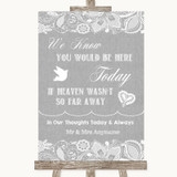 Grey Burlap & Lace Loved Ones In Heaven Customised Wedding Sign
