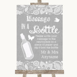 Grey Burlap & Lace Message In A Bottle Customised Wedding Sign