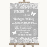 Grey Burlap & Lace No Phone Camera Unplugged Customised Wedding Sign