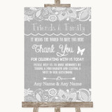 Grey Burlap & Lace Photo Guestbook Friends & Family Customised Wedding Sign