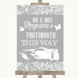 Grey Burlap & Lace Photobooth This Way Left Customised Wedding Sign