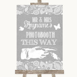 Grey Burlap & Lace Photobooth This Way Right Customised Wedding Sign