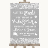 Grey Burlap & Lace Plant Seeds Favours Customised Wedding Sign