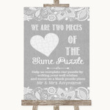 Grey Burlap & Lace Puzzle Piece Guest Book Customised Wedding Sign