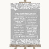 Grey Burlap & Lace Romantic Vows Customised Wedding Sign