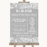 Grey Burlap & Lace Rules Of The Dance Floor Customised Wedding Sign