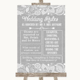 Grey Burlap & Lace Rules Of The Wedding Customised Wedding Sign