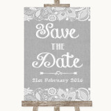 Grey Burlap & Lace Save The Date Customised Wedding Sign