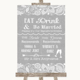 Grey Burlap & Lace Signature Favourite Drinks Customised Wedding Sign