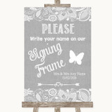Grey Burlap & Lace Signing Frame Guestbook Customised Wedding Sign