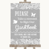 Grey Burlap & Lace Take A Moment To Sign Our Guest Book Wedding Sign