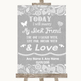 Grey Burlap & Lace Today I Marry My Best Friend Customised Wedding Sign