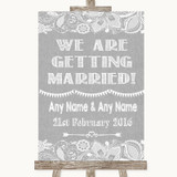 Grey Burlap & Lace We Are Getting Married Customised Wedding Sign
