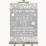 Grey Burlap & Lace Wedpics App Photos Customised Wedding Sign