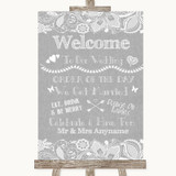 Grey Burlap & Lace Welcome Order Of The Day Customised Wedding Sign