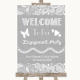 Grey Burlap & Lace Welcome To Our Engagement Party Customised Wedding Sign