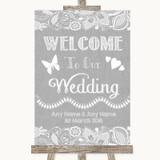 Grey Burlap & Lace Welcome To Our Wedding Customised Wedding Sign