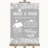 Grey Burlap & Lace Wishing Well Message Customised Wedding Sign