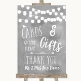 Grey Watercolour Lights Cards & Gifts Table Customised Wedding Sign