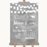 Grey Watercolour Lights Guestbook Advice & Wishes Mr & Mrs Wedding Sign