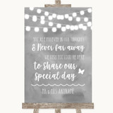 Grey Watercolour Lights In Our Thoughts Customised Wedding Sign