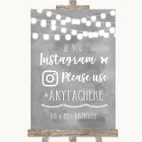 Grey Watercolour Lights Instagram Hashtag Customised Wedding Sign