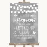 Grey Watercolour Lights Instagram Photo Sharing Customised Wedding Sign