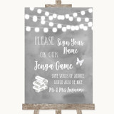 Grey Watercolour Lights Jenga Guest Book Customised Wedding Sign