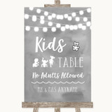 Grey Watercolour Lights Kids Table Customised Wedding Sign