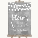 Grey Watercolour Lights Let Love Glow Glowstick Customised Wedding Sign