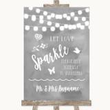 Grey Watercolour Lights Let Love Sparkle Sparkler Send Off Wedding Sign