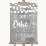 Grey Watercolour Lights Let Them Eat Cake Customised Wedding Sign
