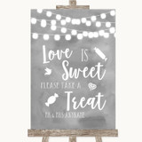 Grey Watercolour Lights Love Is Sweet Take A Treat Candy Buffet Wedding Sign