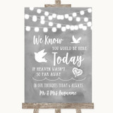 Grey Watercolour Lights Loved Ones In Heaven Customised Wedding Sign