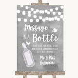 Grey Watercolour Lights Message In A Bottle Customised Wedding Sign
