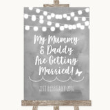 Grey Watercolour Lights Mummy Daddy Getting Married Customised Wedding Sign