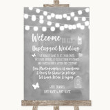 Grey Watercolour Lights No Phone Camera Unplugged Customised Wedding Sign