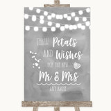 Grey Watercolour Lights Petals Wishes Confetti Customised Wedding Sign