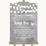 Grey Watercolour Lights Photo Guestbook Friends & Family Wedding Sign