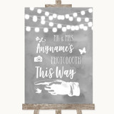 Grey Watercolour Lights Photobooth This Way Left Customised Wedding Sign