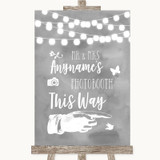 Grey Watercolour Lights Photobooth This Way Right Customised Wedding Sign