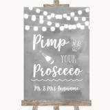 Grey Watercolour Lights Pimp Your Prosecco Customised Wedding Sign