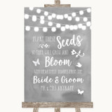 Grey Watercolour Lights Plant Seeds Favours Customised Wedding Sign
