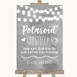 Grey Watercolour Lights Polaroid Guestbook Customised Wedding Sign
