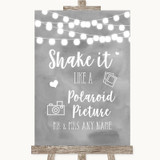 Grey Watercolour Lights Polaroid Picture Customised Wedding Sign