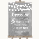 Grey Watercolour Lights Popcorn Bar Customised Wedding Sign