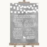 Grey Watercolour Lights Romantic Vows Customised Wedding Sign